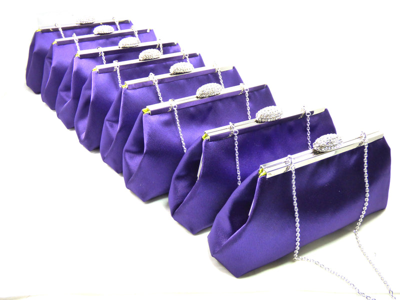 Clutches - Set of Eight Blackberry Purple and Lime Green Bridesmaid Gift Clutches 5% Off - Ella Winston