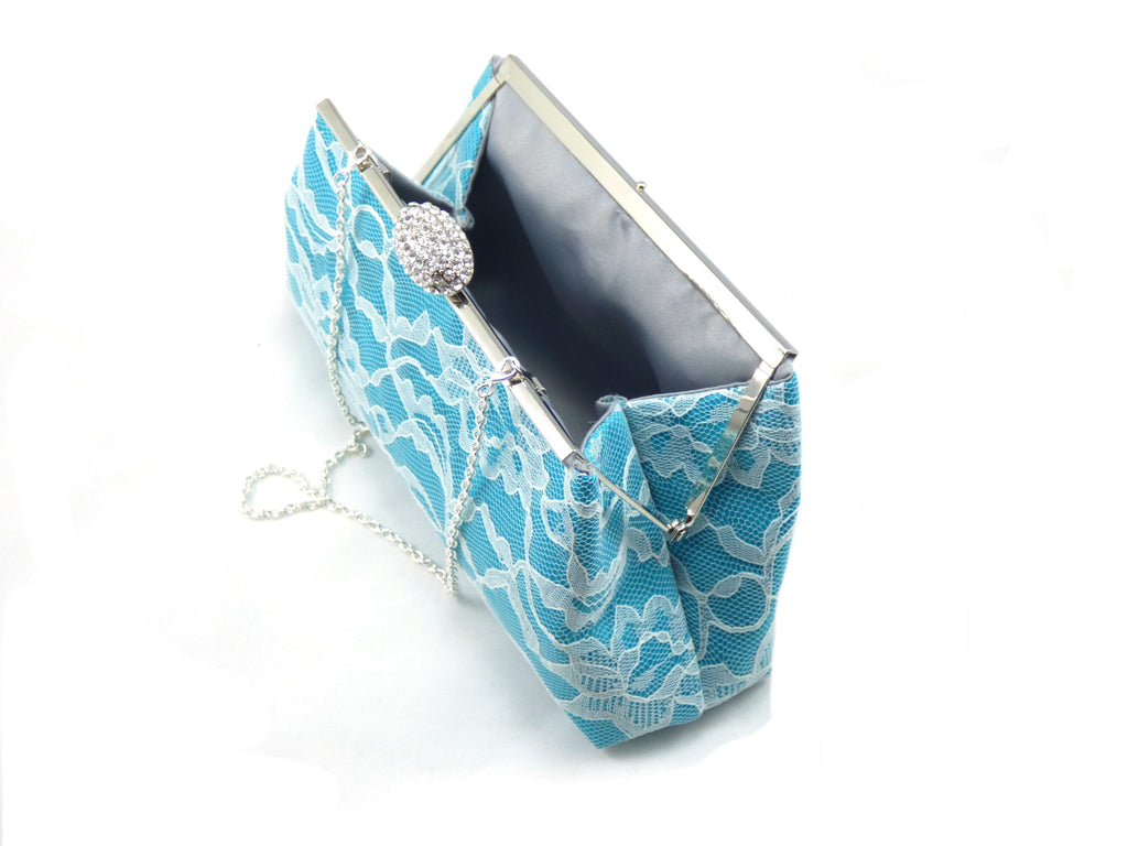 Clutches - Teal, Ivory Lace and Platinum Grey Wedding Clutch - Ella Winston