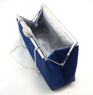 Clutches - Navy Blue and Silver Evening Clutch - Ella Winston