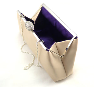 Clutches - Set of Five Champagne and Blackberry Purple Bridesmaid Gift Clutches 5% Off - Ella Winston