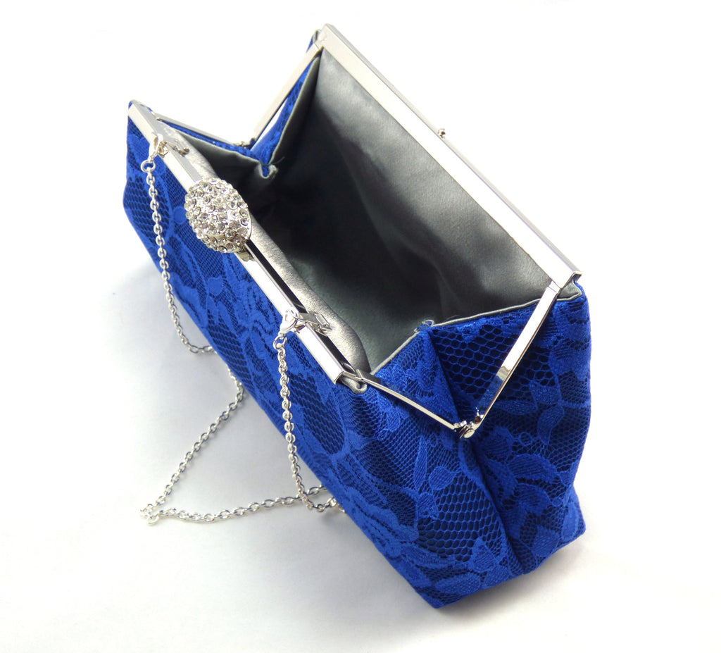 Clutches - Navy Blue, Royal Blue Lace and Steel Grey Evening Clutch - Ella Winston