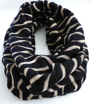 Scarves - Black and Ivory Metallic Wave Infinity Scarf - Ella Winston