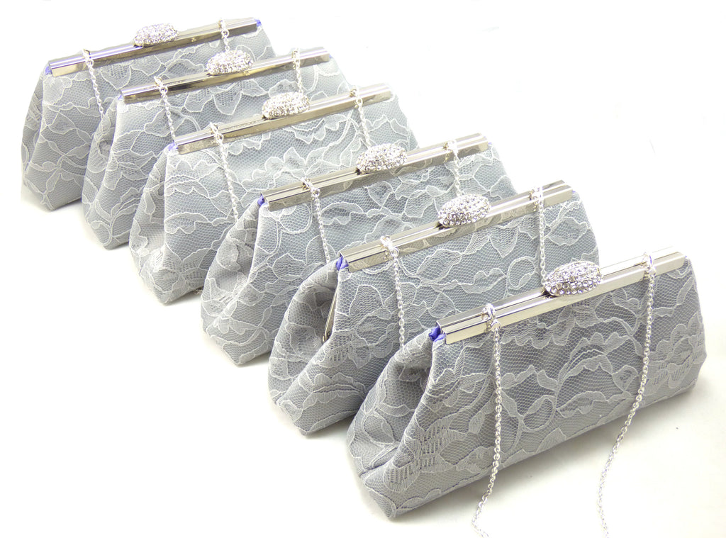 Clutches - Set of Six Platinum Grey and Lavender Bridesmaid Gift Clutches 5% Off - Ella Winston