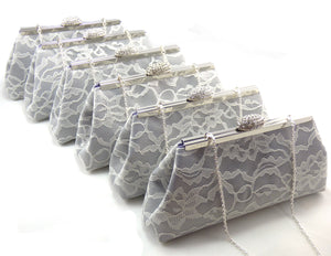 Clutches - Set of Six Platinum Grey, Ivory Lace and Plum Purple Bridesmaid Gift Clutches 5% Off - Ella Winston