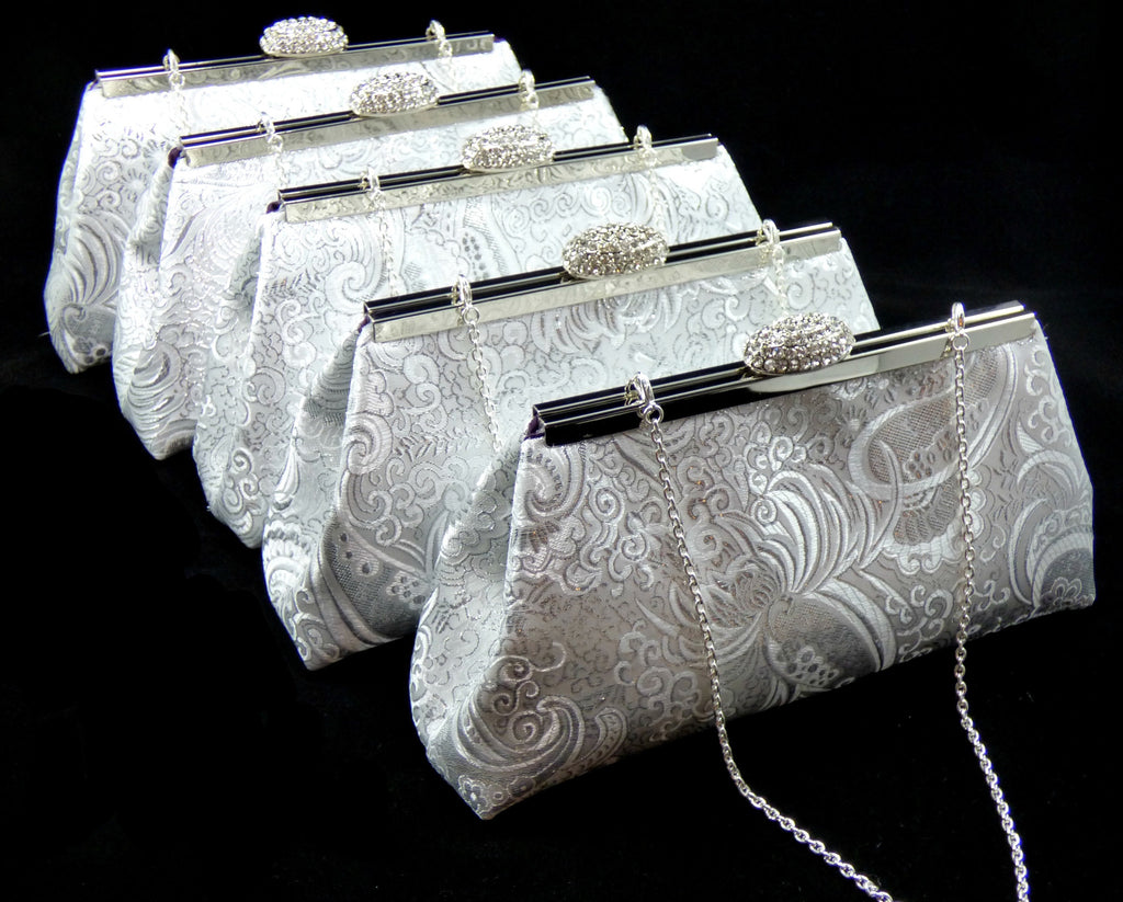 Clutches - Set of Five Silver Paisley and Eggplant Purple Bridesmaid Gift Clutches 5% Off - Ella Winston