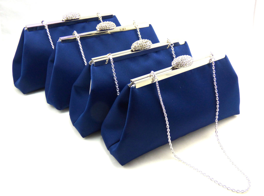 Clutches - Set of Four Navy Blue and Silver Bridesmaid Gift Clutches 5% Off - Ella Winston