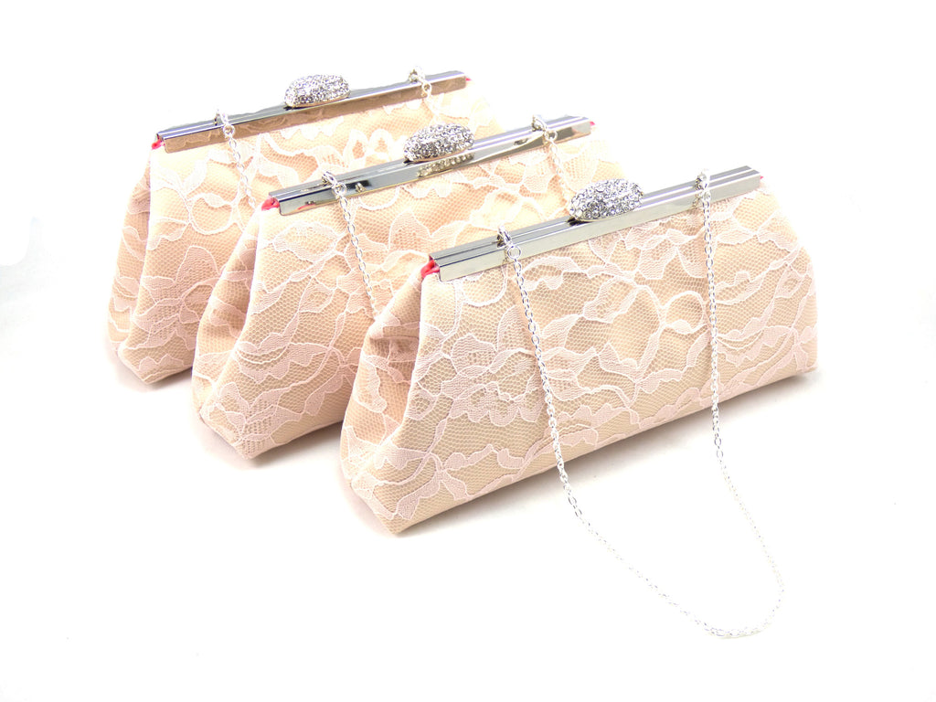 Clutches - Set of Three Champagne, Blush Pink Lace and Calypso Coral Bridesmaid Gift Clutches - Ella Winston
