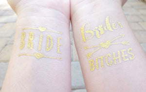 Bride and Bride's Bitches temporary tattoos for bachelorette party