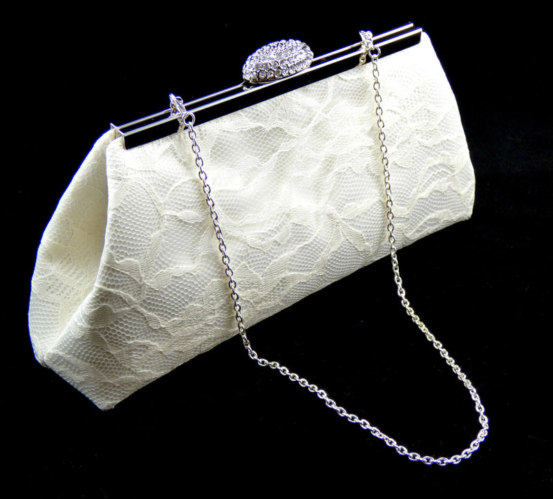 Clutches - Ivory Satin and Lace Bridal Clutch - Ella Winston