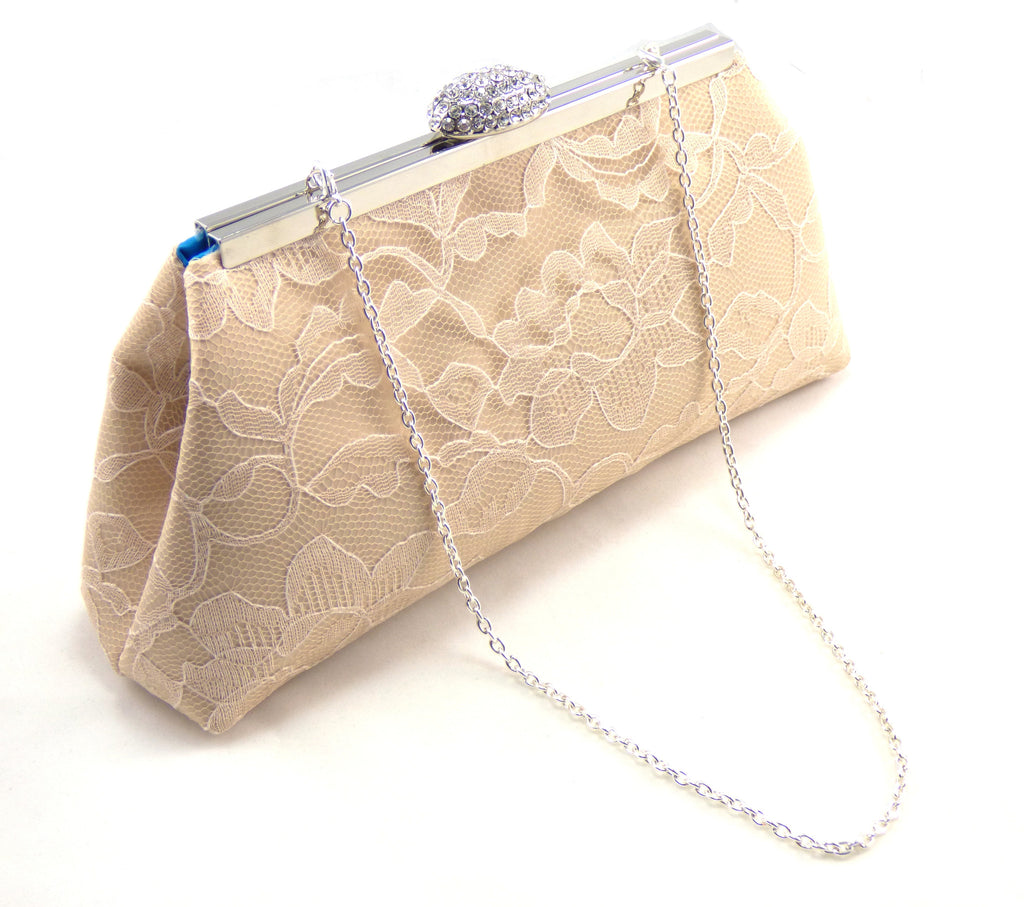 Clutches - Champagne and Blue Jewel Bridal Clutch - Ella Winston