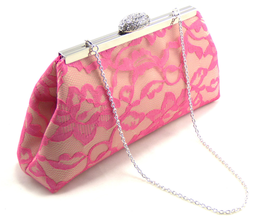 Clutches - Champagne, Fuchsia Lace and Hot Pink Bridal Clutch - Ella Winston
