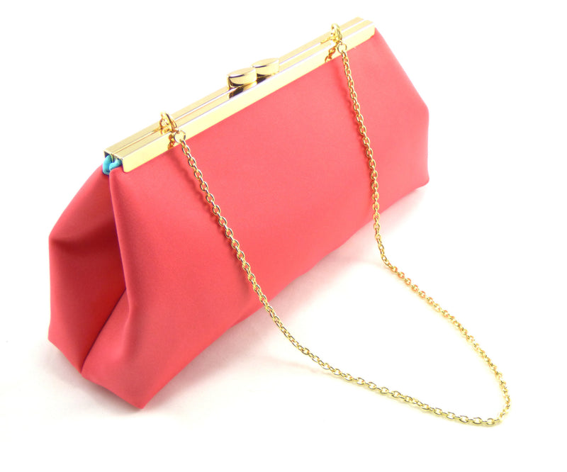 Clutches - Calypso Coral and Aqua Blue Wedding Clutch - Ella Winston