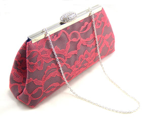 Clutches - Steel Grey, Calypso Coral Lace and Navy Blue Wedding Clutch - Ella Winston