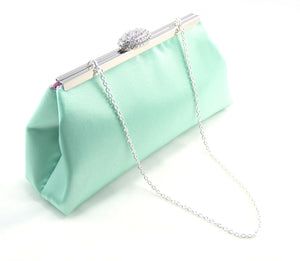 Clutches - Mint Green and Light Pink Bridal Clutch - Ella Winston