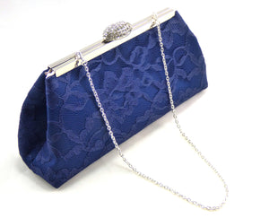 Clutches - Navy Blue and Blush Pink Evening Clutch - Ella Winston