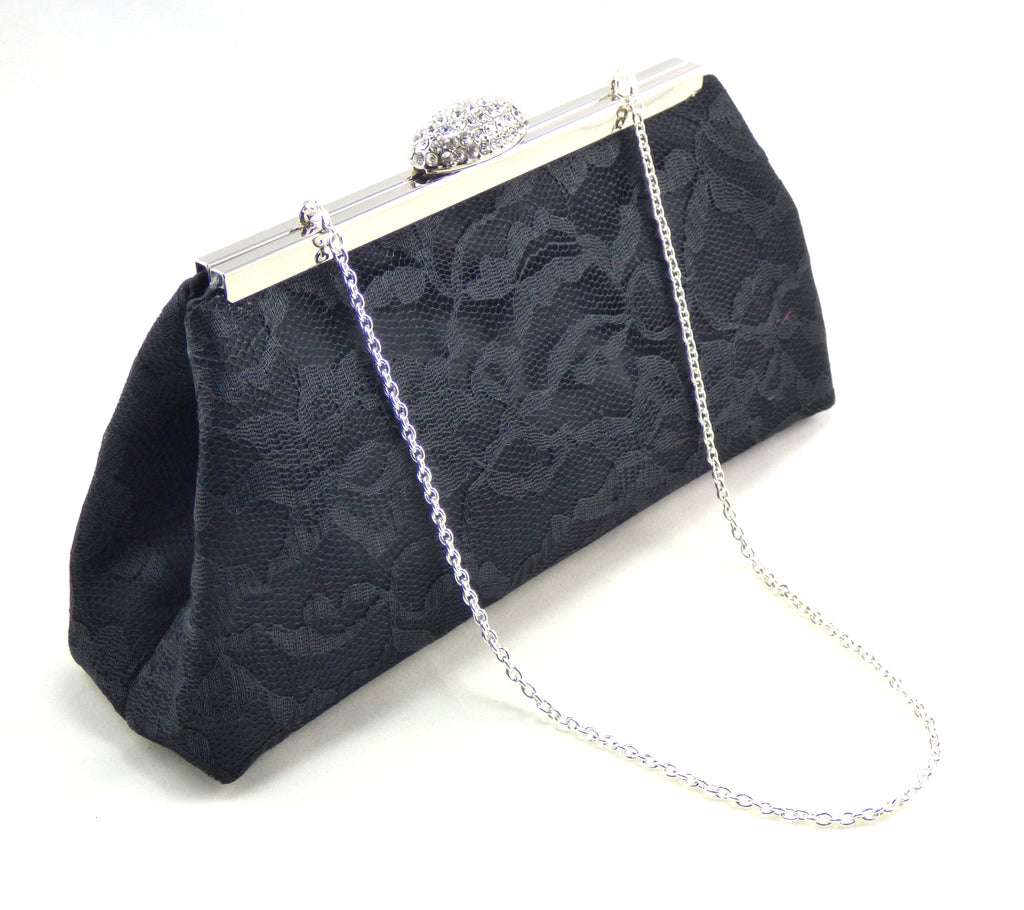 Clutches - Black Satin and Lace Evening Clutch - Ella Winston
