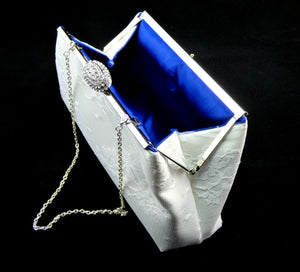 Clutches - Ivory, White Lace and Royal Blue Bridal Clutch - Ella Winston