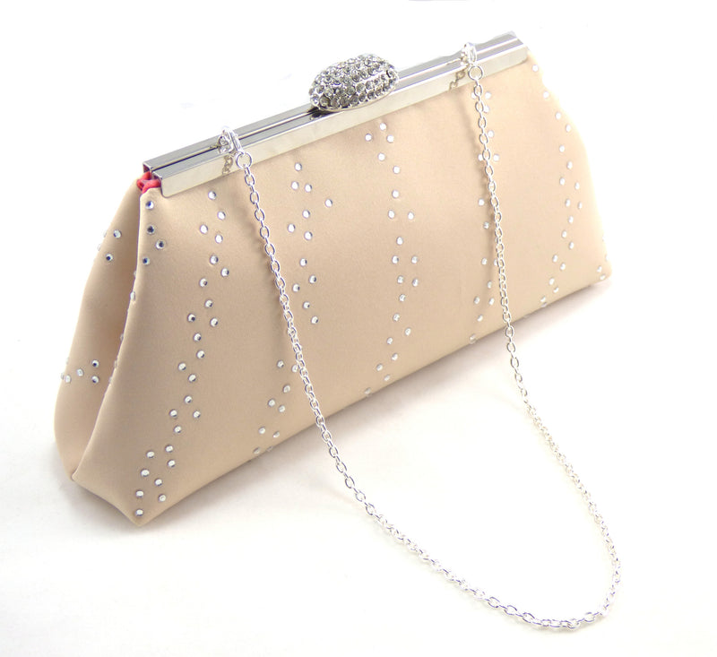 Bling Clutches - Champagne and Calypso Coral Rhinestone Clutch - Ella Winston