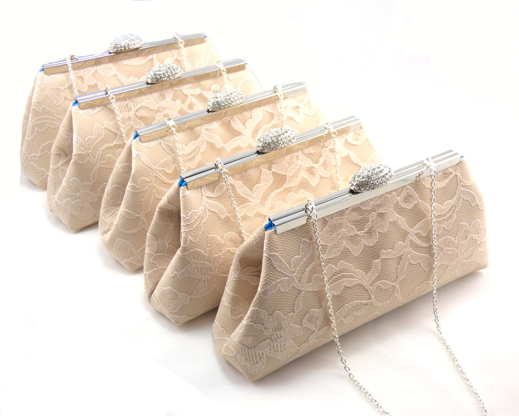 Clutches - Set of Five Champagne and Blue Jewel Bridesmaid Gift Clutches 5% Off - Ella Winston