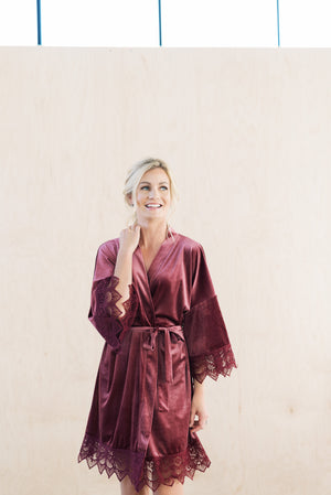 Mauve Velvet and Lace Wedding Day Robe