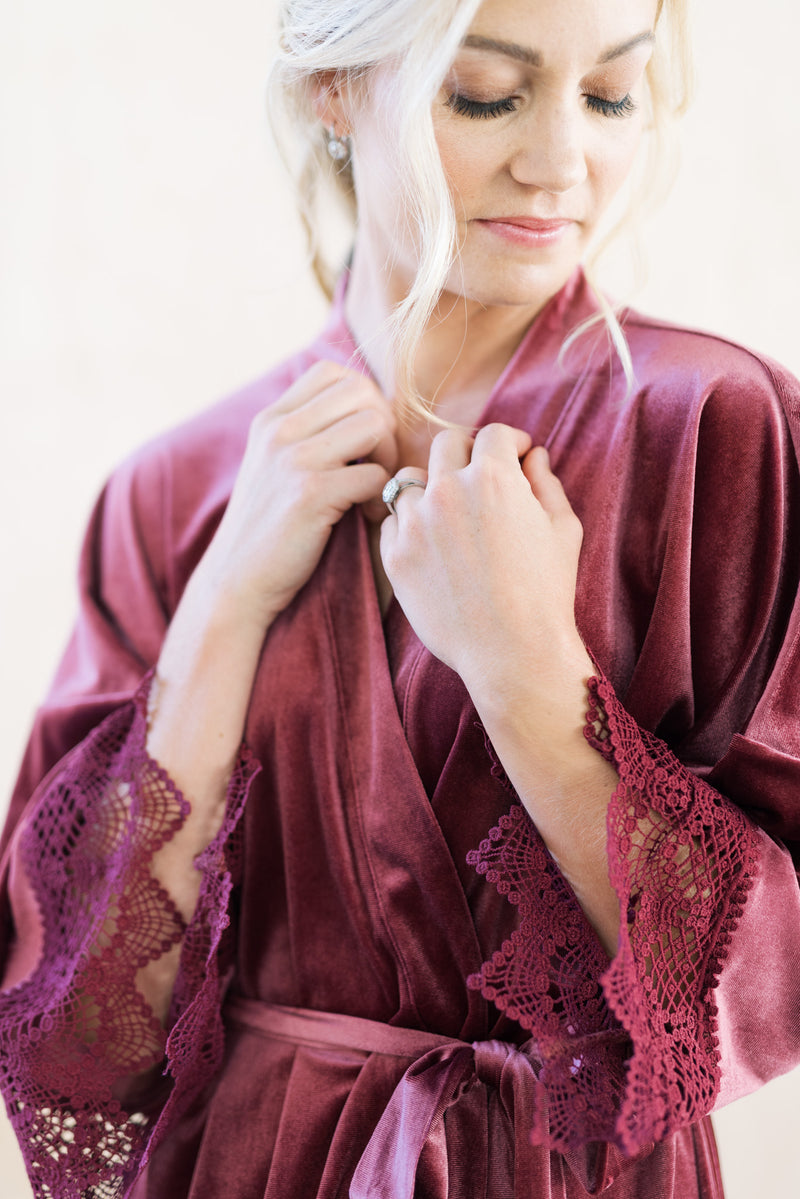 Mauve Velvet and Lace Bridal Robe