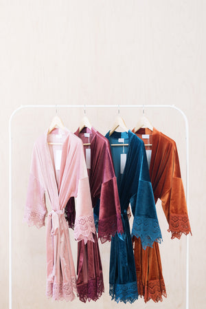 Velvet and Lace Bridal Robes in Rose, Mauve, Dusty Blue and Burnt Orange