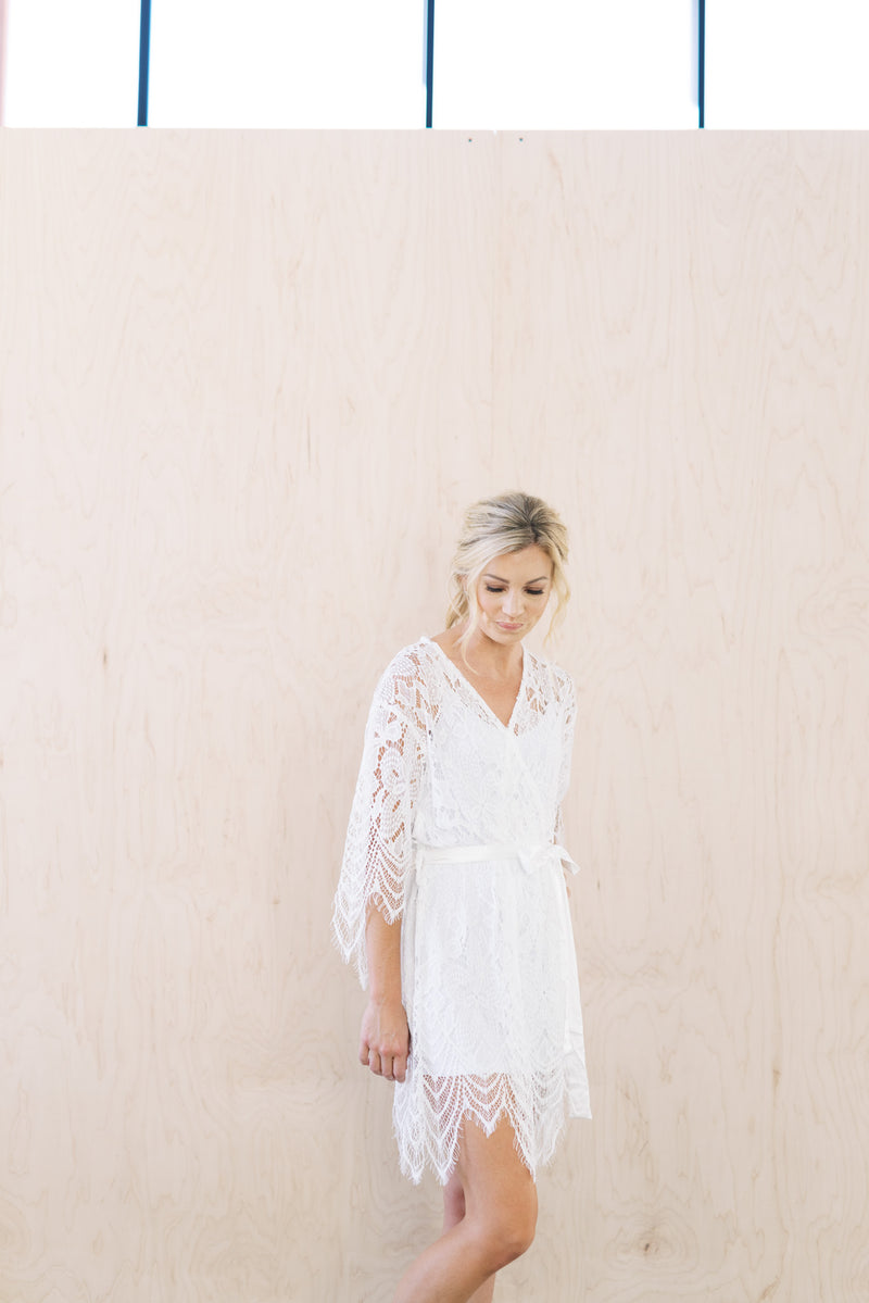 Full Lace White Bridal Robe For Wedding Day