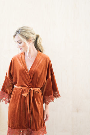 Burnt Orange Velvet and Lace Bridal Robe