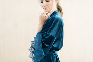 Dusty Blue Wedding Day Robe in Velvet