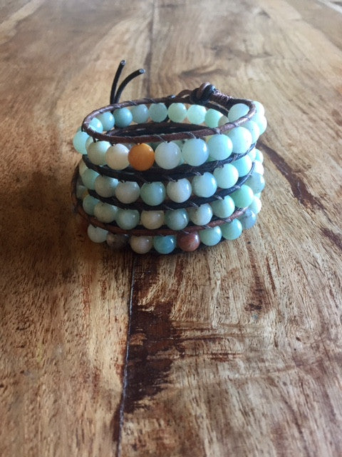 Amazonite wrap bracelet in leather with Akoya shell