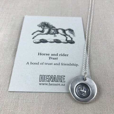 Wax seal talisman necklace - Horse and Rider