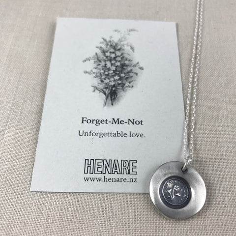 Wax seal talisman necklace - Forget-me-not