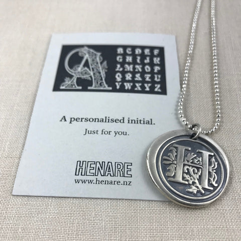 Wax seal talisman necklace - Initial Necklace