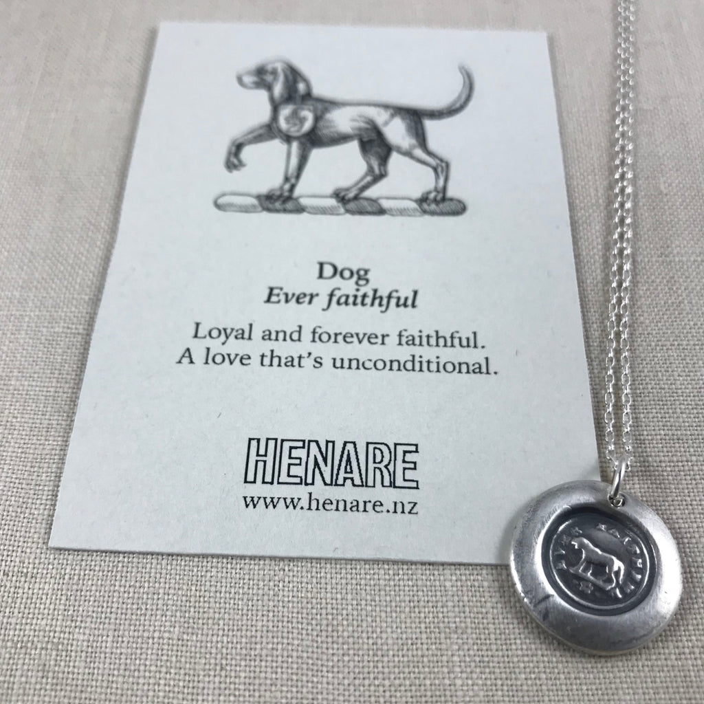 Wax seal talisman necklace - Dog