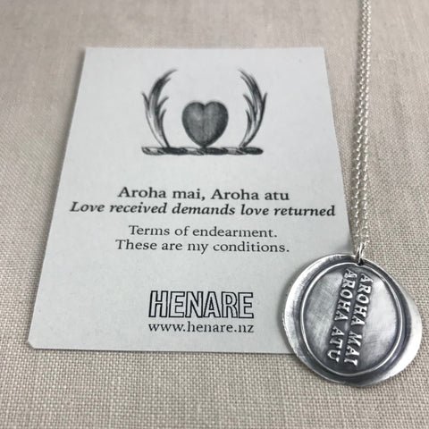 Wax seal talisman necklace - Aroha mai, Aroha atu