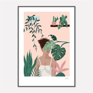 Botanical Art Print of woman surrounded by her house plants by Studio Peers
