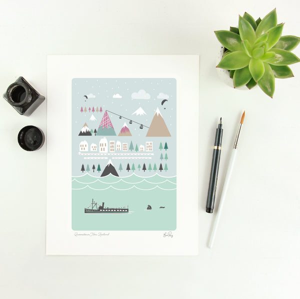 Illustrated Map of Queenstown New Zealand by Studio Peers