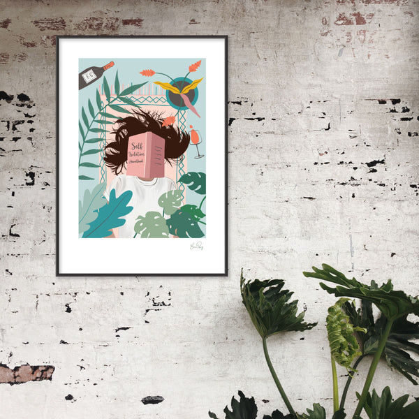 Self Isolation Illustration of woman on a rug surrounded by wine and plants by Studio Peers