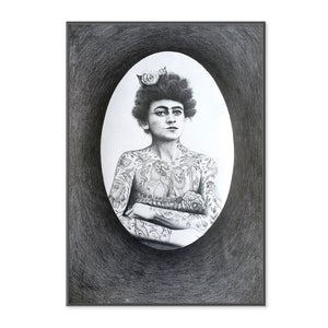 Original Graphite drawing of Tattooed Lady Emma Jane Peers