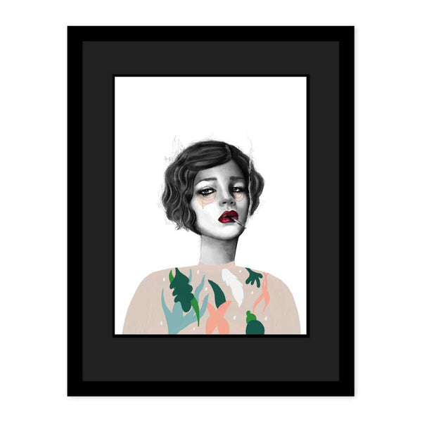Original Art woman smoking a cigarette wearing a floral jumper by Emma Jane Peers