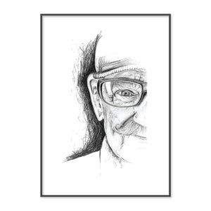 Original Pencil Drawing of Old Man by New Zealand Artist Emma Jane Peers