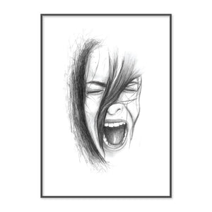 Original Pencil Drawing of Woman Screaming by Artist Emma Jane Peers