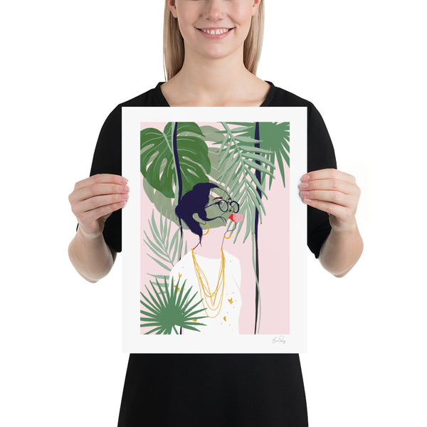 Illustration of woman blowing bubbles surrounded by plants and foliage