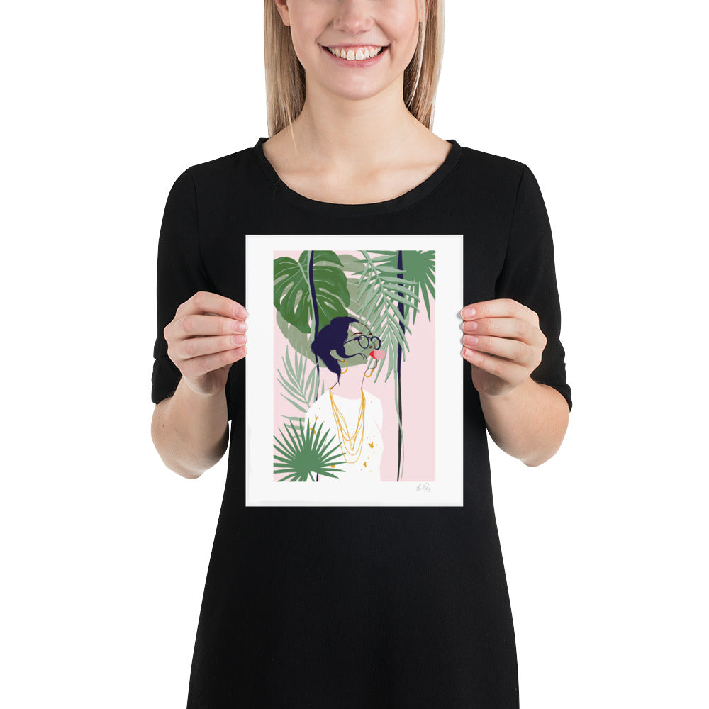 Art Print Illustration of woman blowing bubbles surrounded by plants and foliage