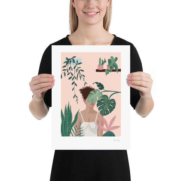 Art Print of woman surrounded by her house plants by Studio Peers