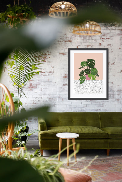 illustrated art print of swiss cheese plant by artist Emma Jane Peers