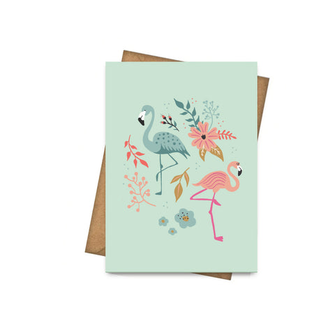 Pretty Flamingos - Greeting Card