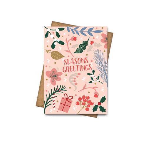 Seasons Greetings Holly - Greeting Card