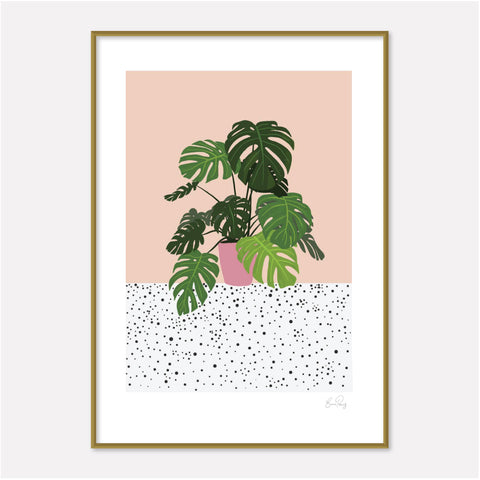 illustrated art print of monstera Plant by studio peers