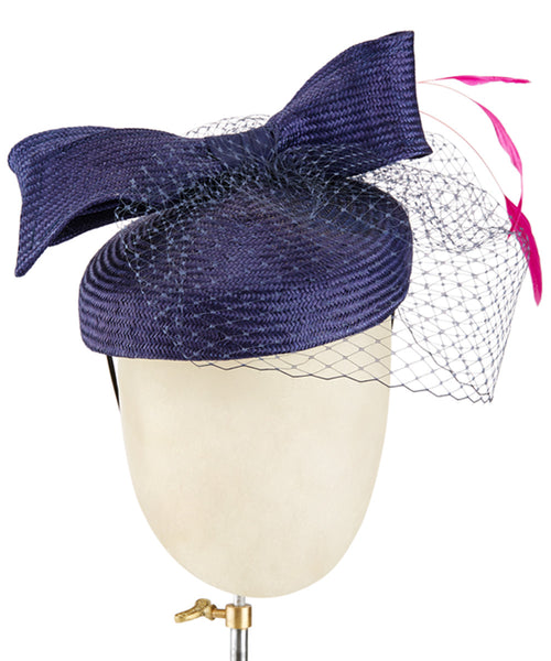 Navy Bow - fascinator designed by Christine Moore - Rent The Races  - 1